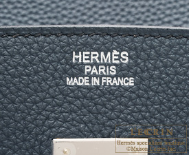 Hermes Birkin bag 35 Blue orage/Dark blue Togo leather Silver hardware