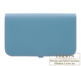 Hermes Dogon GM Blue jean Togo leather Silver hardware