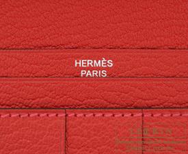 Hermes Bearn Soufflet Rose lipstick/Rouge casaque Chevre myzore goatskin Silver hardware