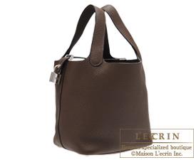 Hermes Picotin Lock bag PM Chocolat Clemence leather Silver hardware