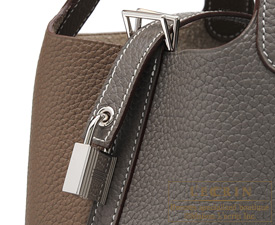 Hermes Picotin Lock casaque bag PM Etoupe grey/Etain Clemence leather Silver hardware