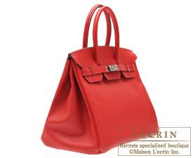 Hermes Birkin bag 35 Rouge casaque Epsom leather Silver hardware
