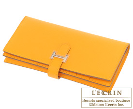 Hermes Bearn Soufflet Jaune d'or/Gold yellow Epsom leather Silver hardware