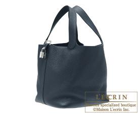 Hermes Birkin bag 30 Bleu obscur/Obscure blue Clemence leather Silver hardware