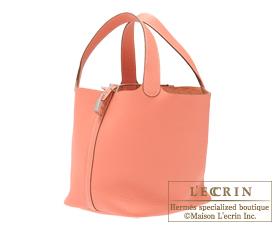 Hermes Birkin bag 30 Crevette/Crevette pink Clemence leather Silver hardware