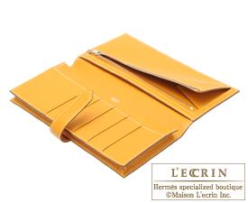 Hermes Bearn Soufflet Moutarde/Mustard yellow Chevre myzore goatskin Silver hardware