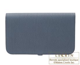 Hermes Dogon GM Blue orage/Dark blue Togo leather Gold hardware