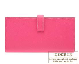 Hermes Bearn Soufflet Rose tyrien/Hot pink Epsom leather Gold hardware