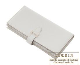 Hermes Bearn Soufflet Pearl grey Chevre myzore goatskin Silver hardware