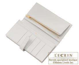 Hermes Bearn Soufflet Pearl grey Chevre myzore goatskin Gold hardware