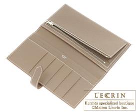 Hermes Bearn bi-fold wallet Jaune d'or/Etoupe grey Epsom leather Silver hardware