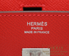 Hermes Birkin bag 25 Rouge casaque Epsom leather Silver hardware