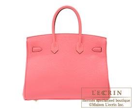 Hermes Birkin bag 35 Rose lipstick Togo leather Gold hardware