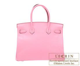 Hermes Birkin bag 30 Pink Epsom leather Silver hardware
