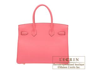 Hermes Birkin bag 30 Rose lipstick Togo leather Gold hardware