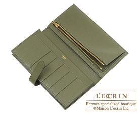 Hermes Bearn Soufflet Canopee/Canopee green Chevre myzore goatskin Gold hardware
