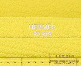 Hermes Bearn Soufflet Soufre/Soufre yellow Chevre myzore goatskin Silver hardware