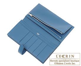 Hermes Bearn Soufflet Blue de malte/Dark blue Chevre myzore goatskin Silver hardware
