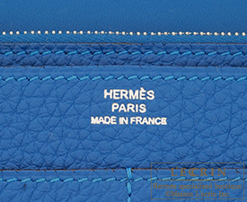 Hermes Dogon GM Mykonos/Mykonos Blue Togo leather Silver hardware