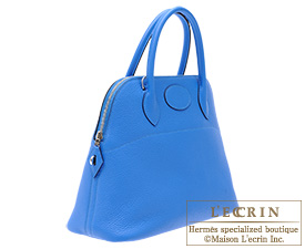 Hermes Bolide bag 31 Blue hydra Clemence leather Silver hardware ...