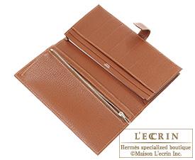 Hermes Bearn Soufflet Feu/Noisette Chevre myzore goatskin Silver hardware