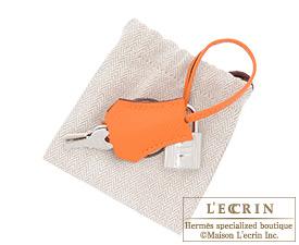 Hermes Birkin bag 25 Orange Epsom leather Silver hardware