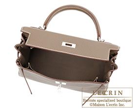 Hermes Kelly bag 28 Retourne Etoupe grey Clemence leather Silver ...