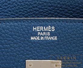 53b3d1f4259c Hermes Birkin bag 35 Blue thalassa Clemence leather Silver hardware ...