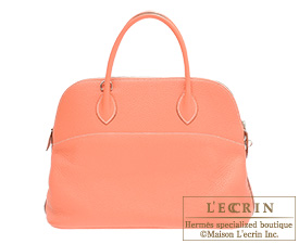 Hermes Bolide bag 35 Crevette Clemence leather Silver hardware