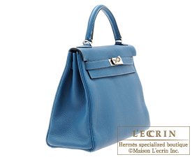 Hermes Kelly bag 32 Blue de galice Togo leather Silver hardware