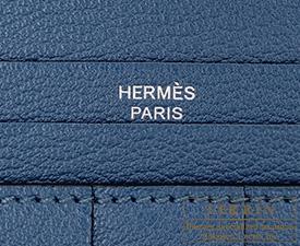 Hermes Bearn Soufflet Blue de galice Chevre myzore goatskin Silver hardware