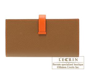 Hermes Bearn Soufflet Alezan/Feu Epsom leather Silver hardware