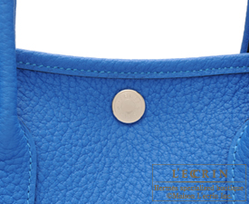 Hermes Garden Party bag TPM Blue hydra Country leather Silver hardware