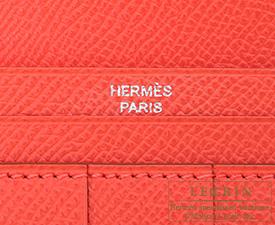 Hermes Bearn Soufflet White/Rose jaipur Epsom leather Silver hardware