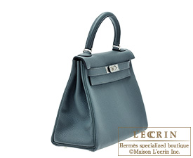 Hermes Kelly bag 28 Blue orage Togo leather Silver hardware