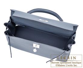Hermes Kelly bag 32 Blue orage/Dark blue Togo leather Silver hardware