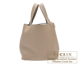 Hermes Picotin Lock bag GM Gris tourterelle/Mouse grey Clemence leather Silver hardware