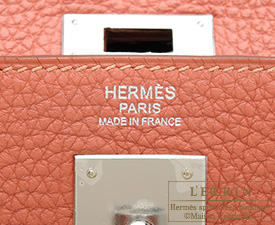 Hermes Kelly bag 32 Rosy Togo leather Silver hardware