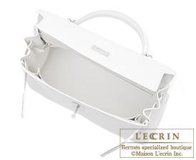 Hermes Kelly bag 32 Retourne White Clemence leather Silver hardware