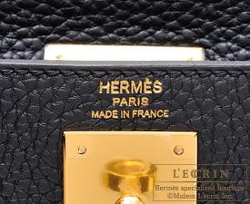 Hermes Kelly bag 28 Black Clemence leather Gold hardware