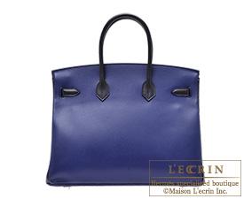 Hermes Birkin bag 35 Blue saphir/Black Epsom leather Mat Silver  hardware