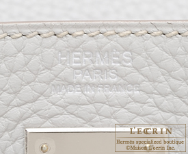 Hermes Kelly bag 32 Retourne Pearl grey/Gris perle Clemence leather Silver hardware