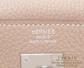 Hermes Kelly bag 32 Retourne Argile Clemence leather Silver hardware