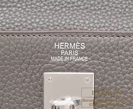 Hermes Kelly bag 35 Etain/Etain grey Clemence leather Silver hardware