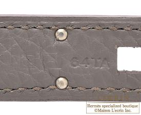Hermes Kelly bag 35 Etain/Etain grey Clemence leather Silver hardware