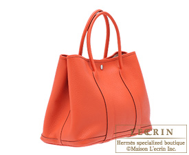 Hermes Garden Party bag PM Capucine Negonda leather Silver hardware