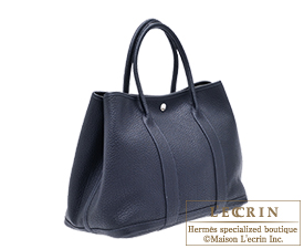 Hermes Garden Party bag PM Blue indigo Negonda leather Silver hardware