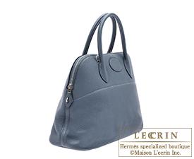 Hermes Bolide bag 35 Blue orage Clemence leather Silver hardware