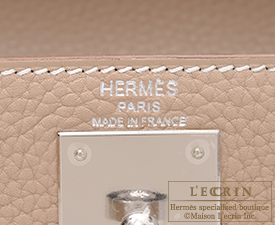 Hermes Kelly bag 28 Argile Clemence leather Silver hardware