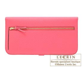 Hermes Dogon LONG Rose lipstick Togo leather Gold hardware